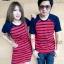 เสื้อคู่รักพร้อมส่ง ชุดผ้ายืดแดงริ้วน้ำเงิน thumbnail 2