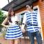 เสื้อคู่รัก ชุดคู่รัก สีน้ำเงินสด-ขาว ลายขวาง สวยมากๆ thumbnail 1