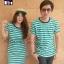 เสื้อคู่รักเกาหลี ชุดผ้ายืดโทนสีเขียวริ้วขาวตัดกับสีกรม และเพิ่มความโดดเด่นสีกรมเข้มที่คอเสื้อ thumbnail 1