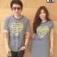 เสื้อคู่รักเกาหลี ชุดผ้ายืดสีน้ำเงินริ้วเหลืองเพิ่มลวดลายพิมพ์สกรีนสีเหลืองรูปหัวใจ thumbnail 1