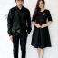ชุดคู่รักสีดำ เสื้อเชิ๊ตผู้ชายแขนยาว กับเดรสผู้หญิงมีแขน thumbnail 1