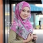 ผ้าคลุม อิสลาม วิสคอส viscose พิมพ์ลาย ดอกไม้ โทนชมพู HJ07008 thumbnail 1