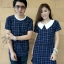 ชุดคู่รักเกาหลี สุดฮิตลายสก็อตสีน้ำเงินกรม-ขาว thumbnail 1