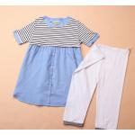 เสื้อให้นมแฟชั่นเกาหลี มาพร้อมกางเกงเลคกิ้ง สีขาว อินเทรนด์ ด้วย เสื้อลายขวาง ตัดกับสีฟ้าในตัวเสื้อ น่ารักคะ สำเนา สำเนา