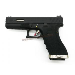 Glock17 Brand War T5 เฟรมดำ สไลด์ดำ ท่อเงิน - WE