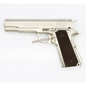 M1911A1 สีเงินไทเทเนียม กริ๊ปน้ำตาล - WE New Gen 2016
