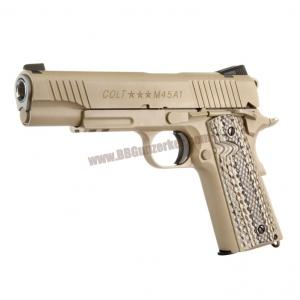 COLT M45A1 Rail CO2 GBB Pistol (Desert Tan) - CYBERGUN