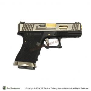 Glock19 T3 Gen4 สไลด์เงิน ท่อทอง เฟรมดำ WE