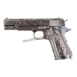M1911 Classic Floral Pattern สีเงิน แกะลายอาปาเช่ - WE
