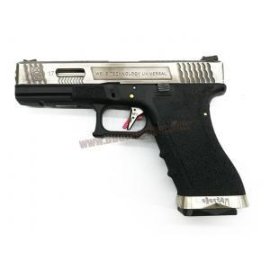 Glock17 Brand War T7 สไลด์เงิน ท่อเงิน เฟรมดำ WE