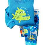 ชุดนอน Baby Gap ลาย ปลาปิรันย่าสีเขียว ตัวเสื้อสีฟ้า แขนยาว
