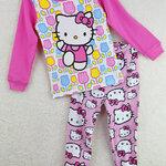 ชุดนอนเด็ก (งานส่งออก USA) ลายการ์ตูน Hello Kitty สีชมพู แขนยาว