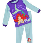 ชุดนอนเด็ก (งานส่งออก USA) ลายการ์ตูน Mermaid เงือกน้อย สีฟ้า แขนยาว