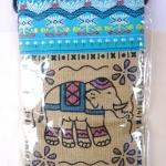กระเป๋าผ้าฝ้ายสะพายเล็กบางลายช้าง 4