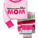 ชุดนอนเด็ก Baby Gap ลาย awesome like MOM สีชมพู แขนยาว
