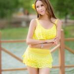ชุดว่ายน้ำ 2 พีช สีเหลืองพิมพ์ลายหัวใจ น่ารักเก๋ๆ ใสๆ ไม่โป๊