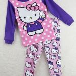 ชุดนอนเด็ก (งานส่งออก USA) ลายการ์ตูน Hello Kitty สีชมพู-ม่วง แขนยาว