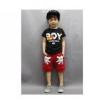 ชุตเซ็ทเสื้อแขนสั้น Boy สีดำ +กางเกงสีแดง น่ารัก มาก ค่ะ ขนาด 140