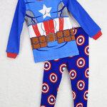 ชุดนอนเด็ก (งานส่งออก USA) ลายการ์ตูน Captain America สีฟ้า-น้ำเงิน แขนยาว