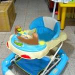 รถหัดเดิน+โยกเยก ลายลิงถือลูกบอล สีฟ้า