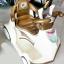รถแบตหอยทากมีพวงมาลัยมือโยก สีครีม thumbnail 3