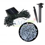 Waterproof solar panel powered 100 LED string light for outdoor decoration (White)