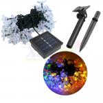Waterproof solar panel powered string light in flower shapes for outdoor decoration (Mixed 4 colors)
