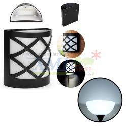 โคมไฟโซล่าเซลล์ ติดผนัง 6 LED ทรง ตาข่าย (เเสง : ขาว)