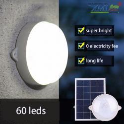โคมไฟซาลาเปาโซล่าเซลล์ ติดเพดาน-ผนัง 60LED 6W Super Bright (แสงขาว)
