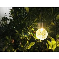 ไฟห้อยพลังงานแสงอาทิตย์ Crackle ball แสงเหลืองวอมไวท์
