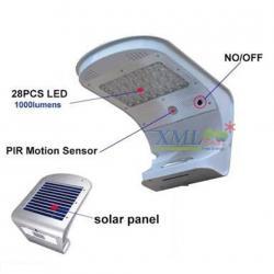 โคมไฟโซล่าเซลล์ ติดผนัง 28 led + Motion sensor ตัวใหญ่