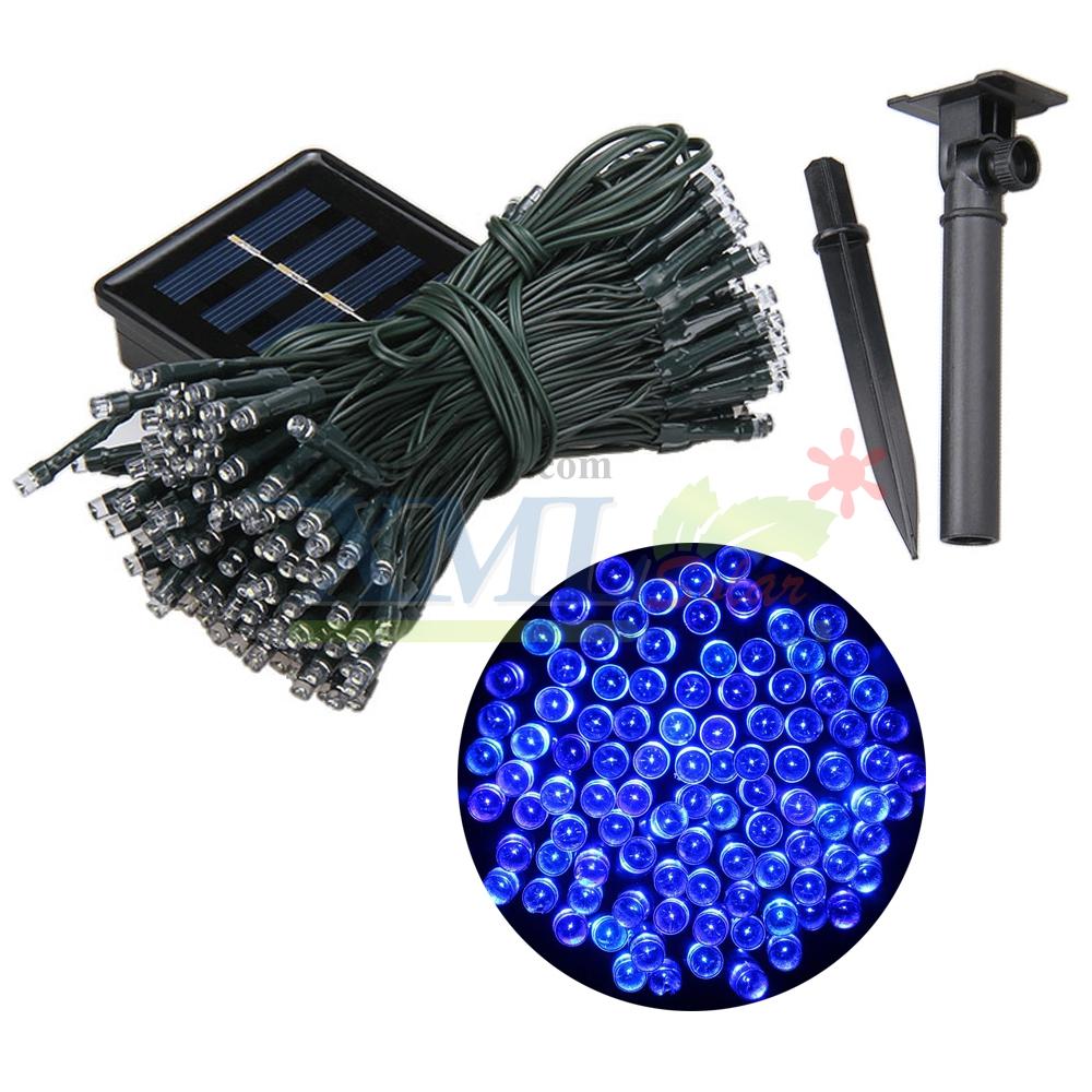 ไฟกระพริบโซล่าเซลล์ 200 LED (8 ฟังก์ชั่น) (เเสง : สีฟ้า)