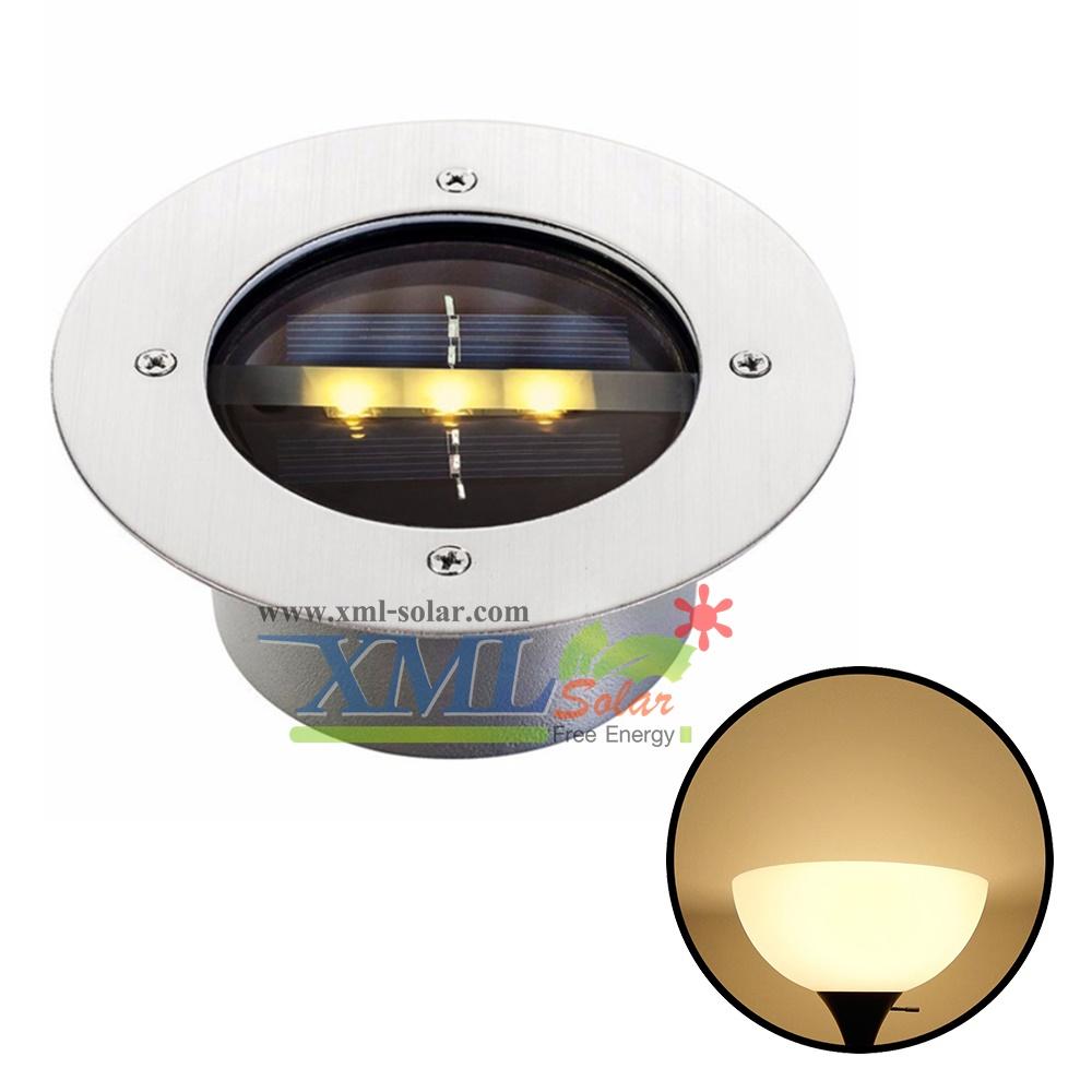 โคมไฟฝังพื้นโซล่าเซลล์ 3 LED (เเสง : เหลืองวอมไวท์)