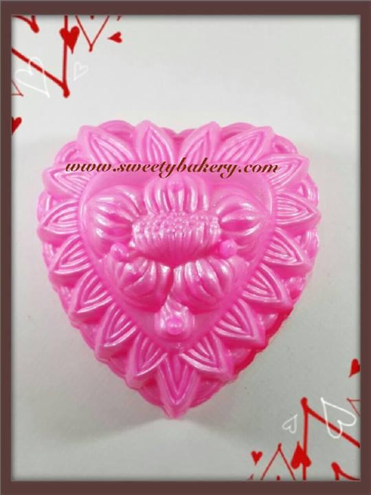 พิมพ์วุ้น สองชั้นรูปหัวใจ ลายดอกไม้ เบอร์ 2