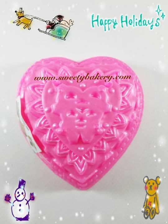 พิมพ์วุ้น สองชั้นรูปหัวใจ ลายดอกไม้ เบอร์ 5
