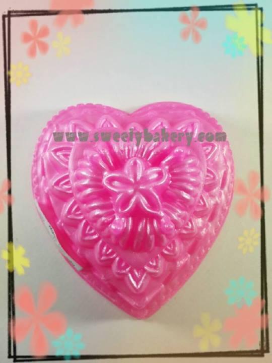 พิมพ์วุ้น สองชั้นรูปหัวใจ ลายดอกไม้ เบอร์ 9