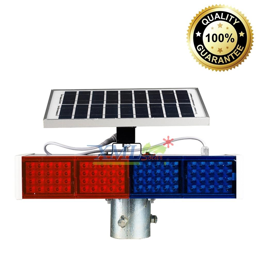 ไฟเตือนจราจร ไฟเตือนทางแยกโซล่าเซลล์ 160 LED (แสง : น้ำเงิน+แดง)