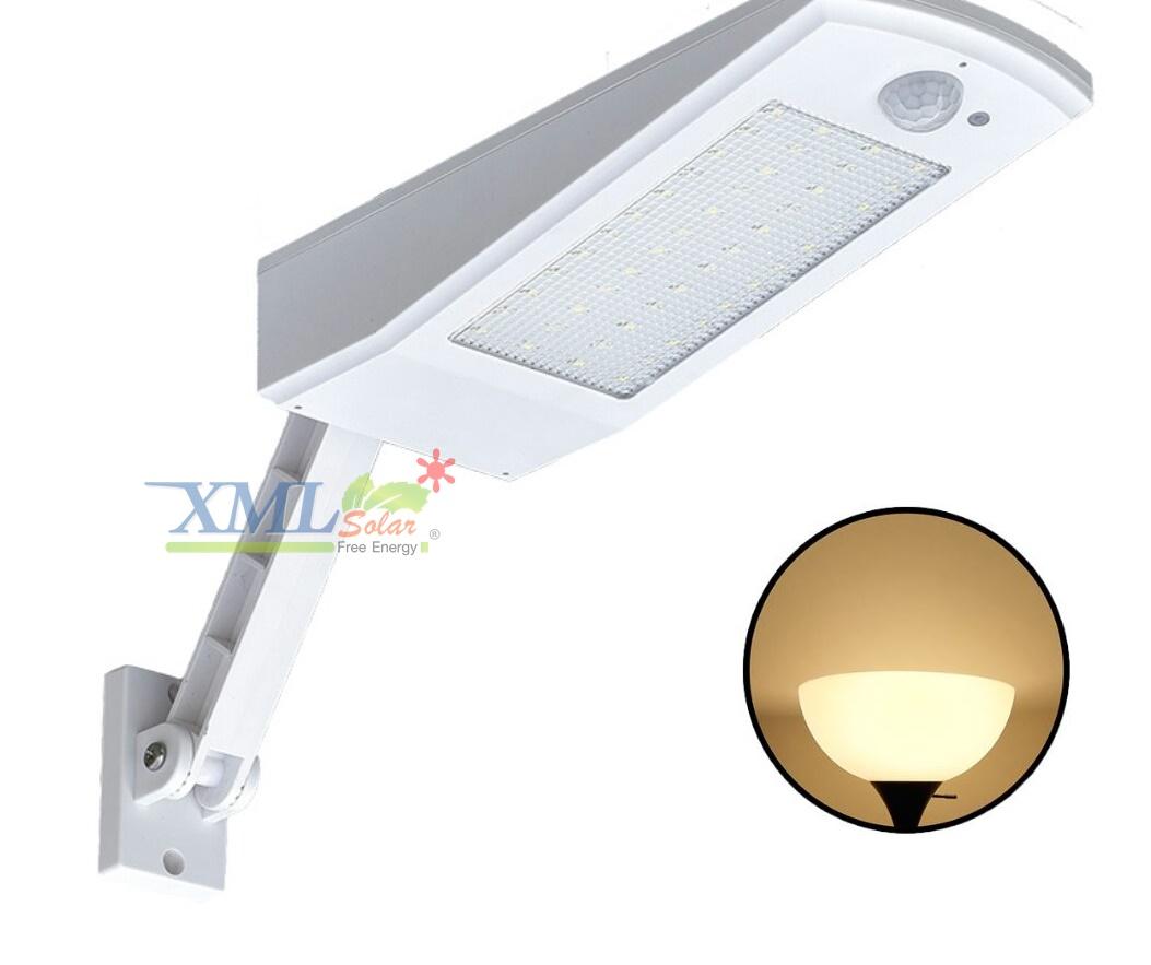 โคมไฟกิ่งโซล่าเซลล์ 48 SMD LED (แสง เหลืองวอมไวท์)