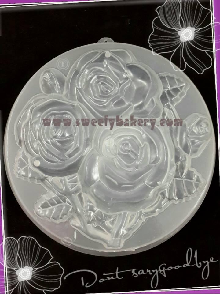 พิมพ์วุ้นปอนด์ รูปดอกกุหลาบ 20cm ลายที่ 1021