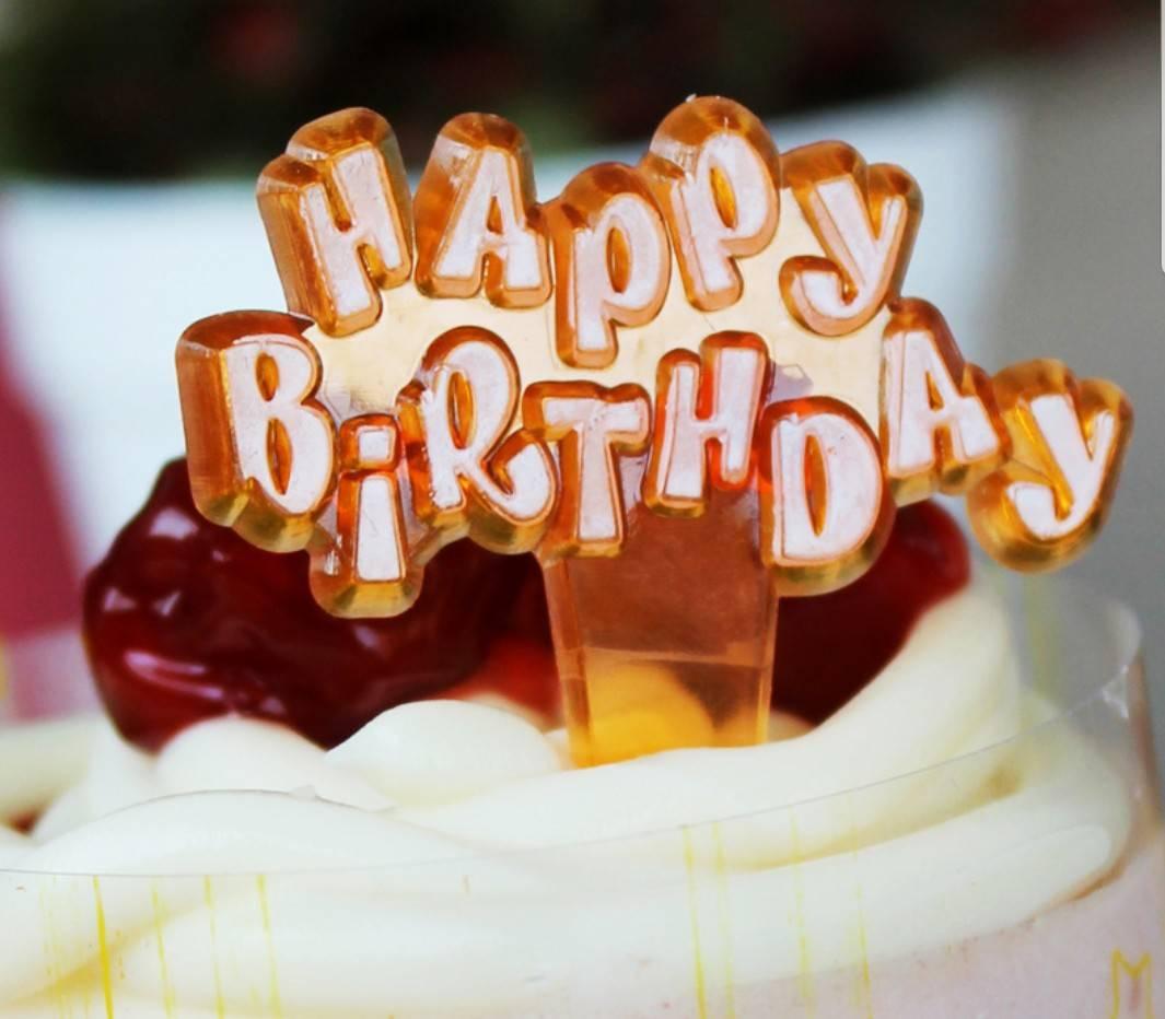 ป้ายพลาสติก Happy Birth Day สีส้ม (ราคา/ชิ้น)