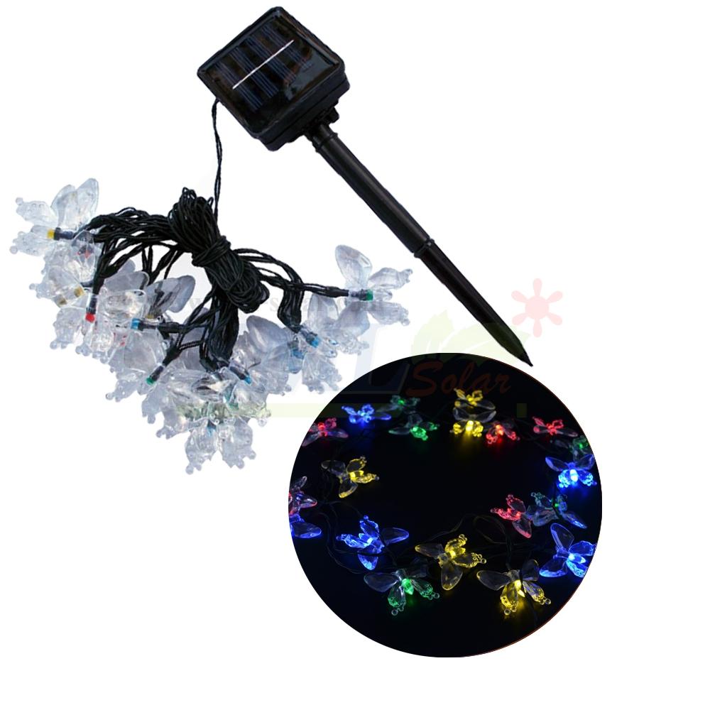 ไฟกระพริบโซล่าเซลล์ รูป ผีเสื้อ 20 ตัว (เเสง : ผสม 4 สี)