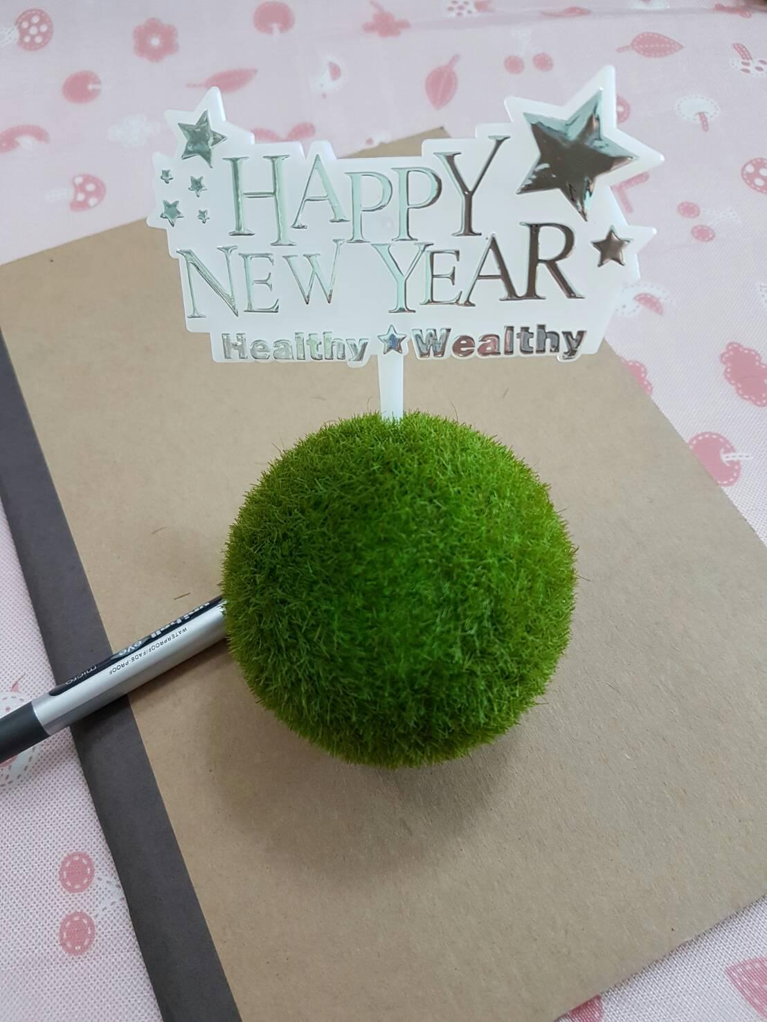 ป้ายพลาสติก Happy New Year สีเงิน (ราคา/ชิ้น)
