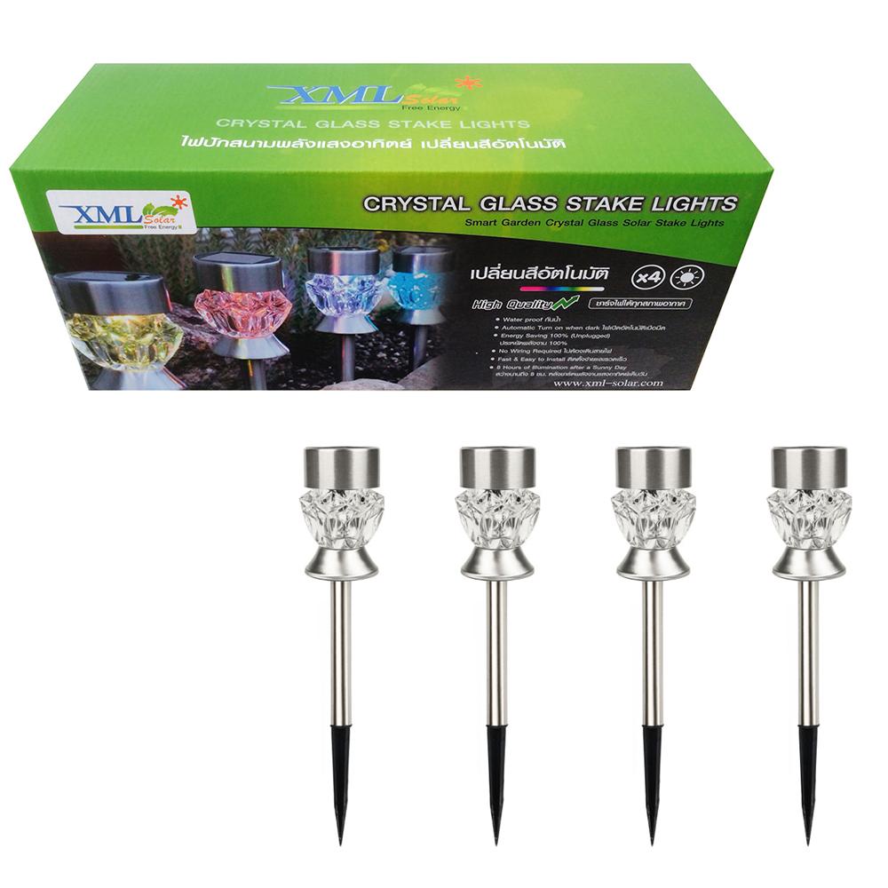 ไฟปักสนามโซล่าเซลล์ 2 LED ทรง คทา (เเสง : ขาว + หลากสี) (กล่อง 4 ชิ้น)
