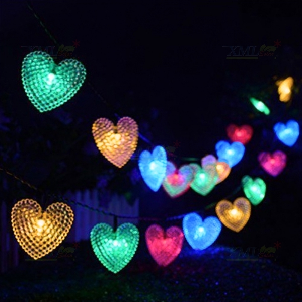 ไฟกระพริบโซล่าเซลล์ ทรงหัวใจ 50 ดวง (เเสง : หลากสี)