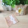 ถุงเบเกอรี่ ถุงขนมปัง แบบมีเทปกาว รูปกระต่ายสีเบส 100 ใบ/ห่อ (10*10+3 cm.)