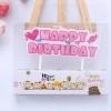 เทียนวันเกิด รูป HAPPY BIRTHDAY สีชมพู