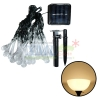 Waterproof solar panel powered string light in 30 teardrop shapes for outdoor decoration (Warm white)