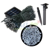 Waterproof solar panel powered 200 LED string light with 8 functions for outdoor decoration (White)