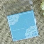 ถุงเบเกอรี่ ถุงขนม แบบมีเทปกาว สีฟ้า 100 ใบ/ห่อ (10*10+3 cm.)