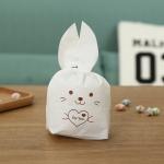 ถุงหูกระต่าย ถุงเบเกอรี่ ถุงขนมบิสกิต กระต่ายน้อยน่ารัก สีน้ำตาล 100 ใบ/ห่อ (Size : 13.5*22+6 cm.)
